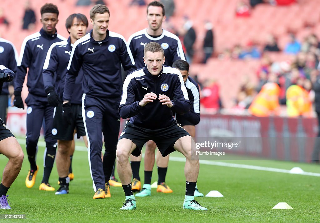 <a gi-track='captionPersonalityLinkClicked' href=/galleries/search?phrase=Jamie+Vardy&family=editorial&specificpeople=8695606 ng-click='$event.stopPropagation()'>Jamie Vardy</a> of Leicester City warms up at The Emirates Stadium ahead of the Premier League match between Arsenal and Leicester City at Emirates Stadium on February 14, 2016 in London, United Kingdom.