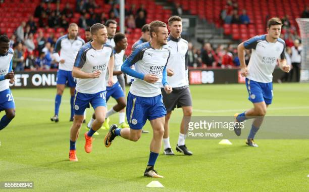 Jamie Vardy of Leicester City warms up at Vitality Stadium ahead of the Premier League match between Bournemouth and Leicester City at Vitality...