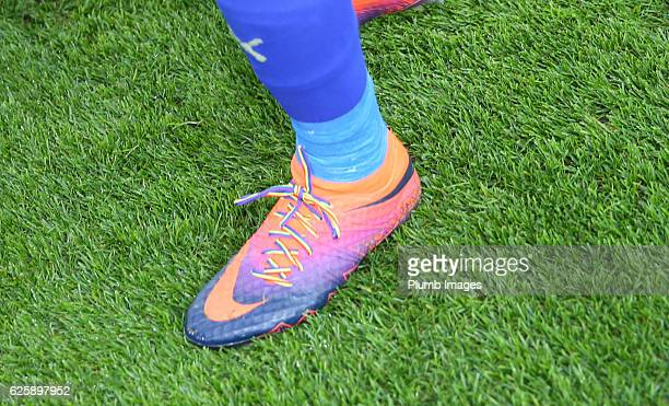 Jamie Vardy of Leicester City wearing rainbow laces during the Premier League match between Leicester City and Middlesbrough at King Power Stadium on...