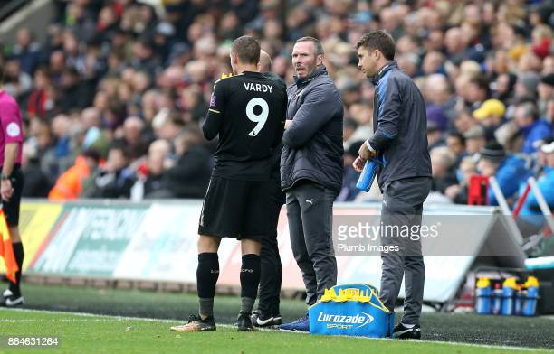 Jamie Vardy of Leicester City with Caretaker Manager Michael Appleton of Leicester City during the Premier League match between Swansea City and...