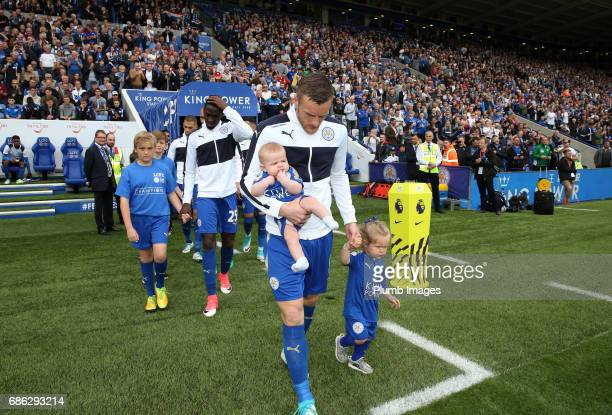 Jamie Vardy of Leicester City with his daughters Sofia and Ella at King Power Stadium ahead of the Premier League match between Leicester City and...