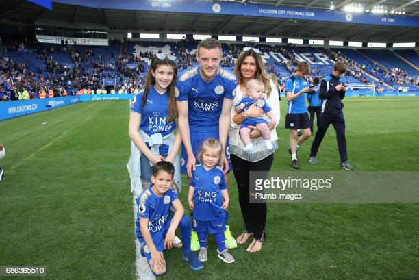 Jamie Vardy of Leicester City with his wife Rebekah and young children after the Premier League match between Leicester City and Bournemouth at King...