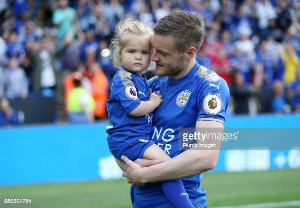 Jamie Vardy of Leicester City with his young daughter after the Premier League match between Leicester City and Bournemouth at King Power Stadium on...