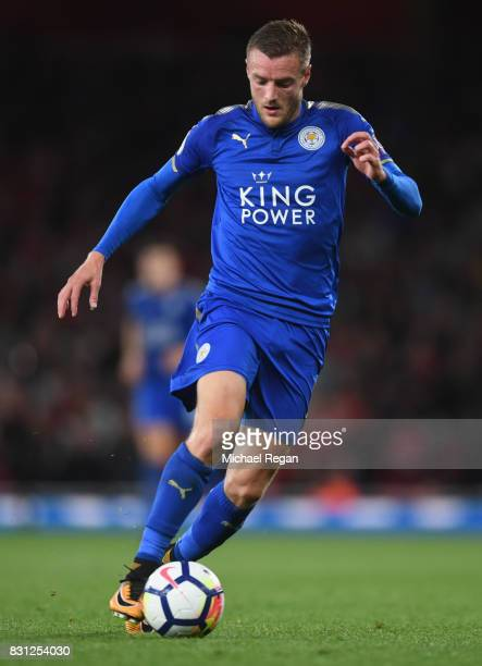 Jamie Vardy of Leicester in action during the Premier League match between Arsenal and Leicester City at Emirates Stadium on August 11 2017 in London...