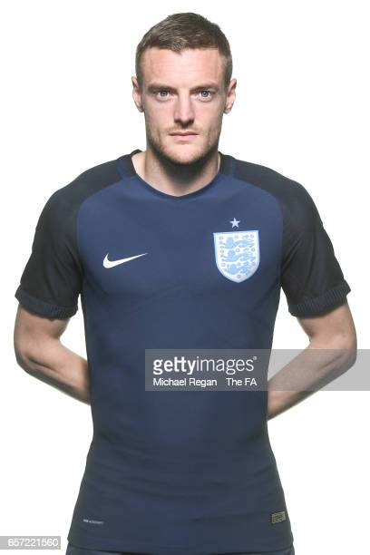 Jamie Vardy poses for an England team portrait at St Georges Park on March 20 2017 in BurtonuponTrent England