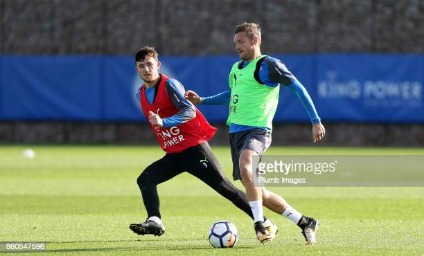 Jamie Vardy with Ben Chilwell during the Leicester City training session at Belvoir Drive Training Complex on October 12 2017 in Leicester United...