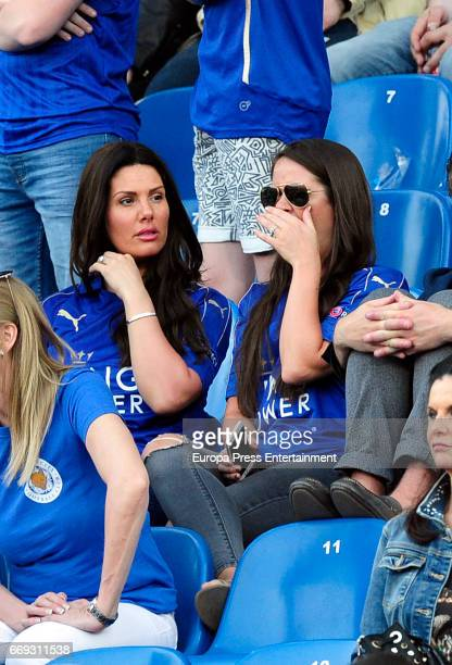 Jamie Vardy's wife Rebekah Vardy is seen during the Champions League quarter final first leg match between Club Atletico de Madrid and Leicester City...