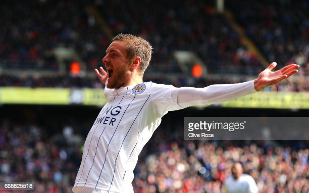 Jamie Vary of Leicester City celebrates scoring his sides second goal during the Premier League match between Crystal Palace and Leicester City at...