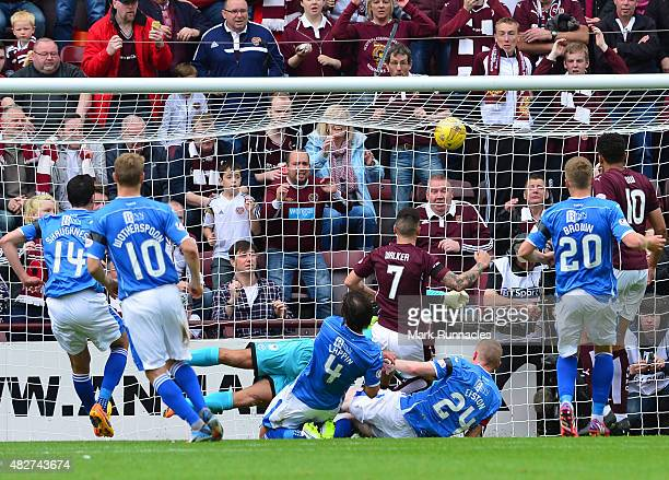 Jamie Walker of Hearts scores a goal from a penalty rebound during the Ladbrokes Scottish Premiership match between Heart of Midlothian FC and St...