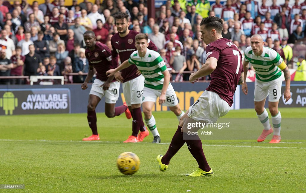 Jamie Walker of Hearts scores his goal from the penalty spot during the Ladbrokes Scottish Premiership match between Hearts and Celtic on August 7, 2016 in Glasgow, Edinburgh.