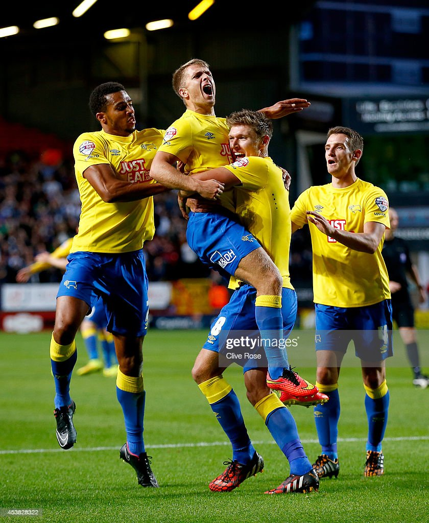 Jamie Ward of Derby County celebrates his equalising goal during the Sky Bet Championship match between Charlton Athletic and Derby County at The Valley on August 19, 2014 in London, England.
