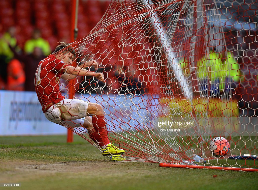 Jamie Ward of Nottingham Forest celebrates scoring during The Emirates FA Cup Third Round match between Nottingham Forest and Queens Park Rangers at City Ground on January 9, 2016 in Nottingham, England.