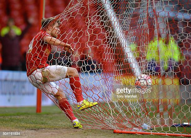 Jamie Ward of Nottingham Forest celebrates scoring during The Emirates FA Cup Third Round match between Nottingham Forest and Queens Park Rangers at...