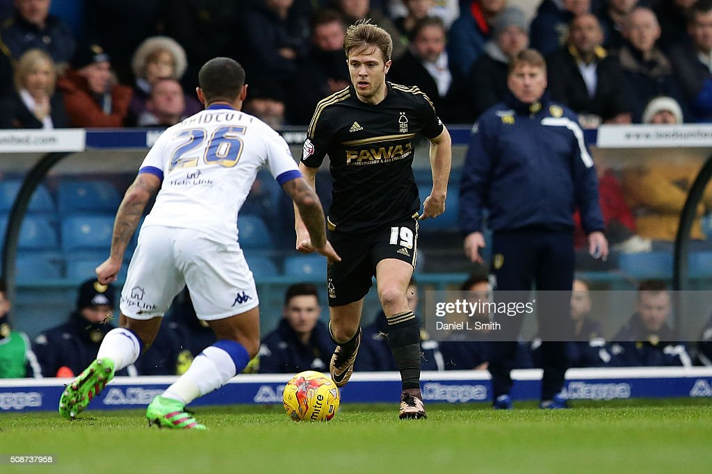 Jamie Ward of Nottingham Forest FC faces Liam Bridgett of Leeds United FC during the Sky Bet Championship match between Leeds United and Nottingham Forest on February 6, 2016 in Leeds, United Kingdom.