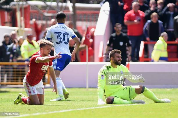Jamie Ward of Nottingham Forest reacts as he wins a penalty during the Sky Bet Championship match between Nottingham Forest and Ipswich Town at City...