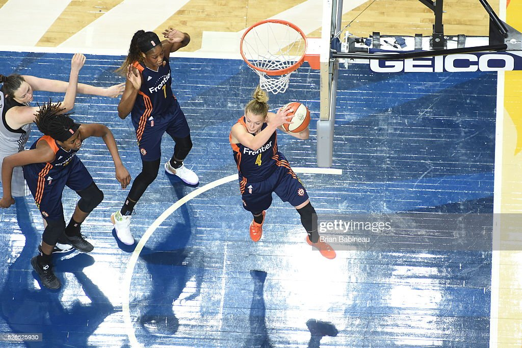 Jamie Weisner #4 of the Connecticut Sun grabs the rebound against the San Antonio Stars in a WNBA preseason game on May 5, 2016 at the Mohegan Sun Arena in Uncasville, Connecticut.