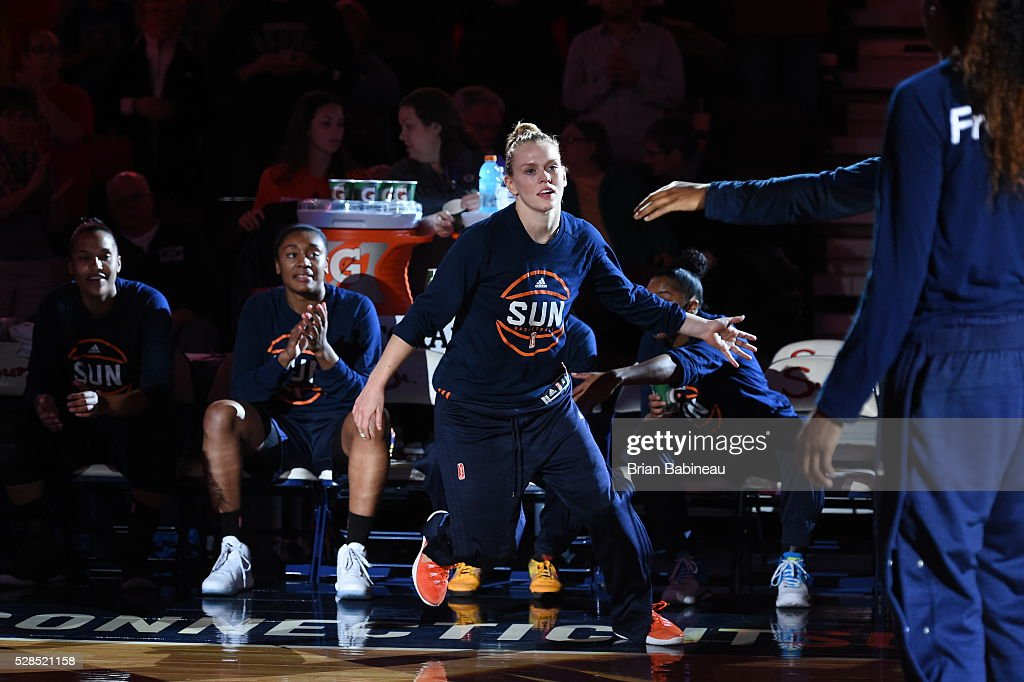 Jamie Weisner #4 of the Connecticut Sun is introduced before the game against the San Antonio Stars in a WNBA preseason game on May 5, 2016 at the Mohegan Sun Arena in Uncasville, Connecticut.