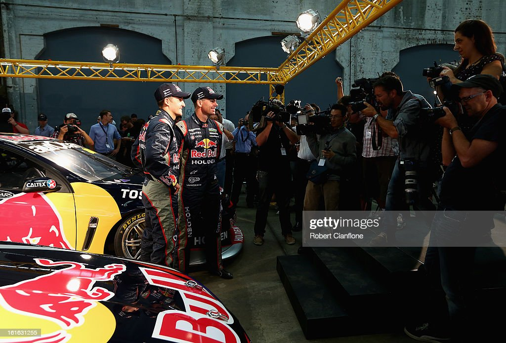Jamie Whincup and Craig Lowndes drivers for Red Bull Australia pose for the media during the Red Bull Racing Australia 2013 V8 Supercars launch at Carriageworks on February 14, 2013 in Sydney, Australia.