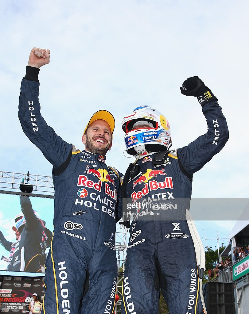 <a gi-track='captionPersonalityLinkClicked' href=/galleries/search?phrase=Jamie+Whincup&family=editorial&specificpeople=678654 ng-click='$event.stopPropagation()'>Jamie Whincup</a> and Paul Dumberell drivers for the #1 Red Bull Racing Australia Holden celebrate after winning race 32 for the Gold Coast 600, which is round 12 of the V8 Supercars Championship Series at the Surfers Paradise Street Circuit on October 26, 2014 on the Gold Coast, Australia.