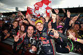 Jamie Whincup and Paul Dumbrell drivers of the Red Bull Racing Australia Holden celebrate after they won the Sandown 500 race 28 which is round 10 of...