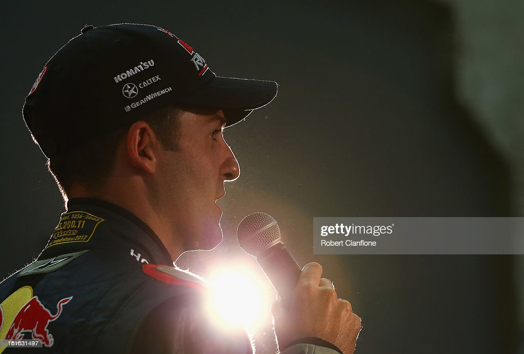 Jamie Whincup driver for Red Bull Australia talks during the Red Bull Racing Australia 2013 V8 Supercars launch at Carriageworks on February 14, 2013 in Sydney, Australia.