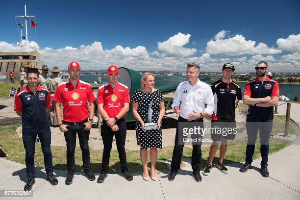 Jamie Whincup driver of the Red Bull Holden Racing Team Holden Commodore VF Fabian Coulthard driver of the Shell VPower Racing Team Ford Falcon FGX...