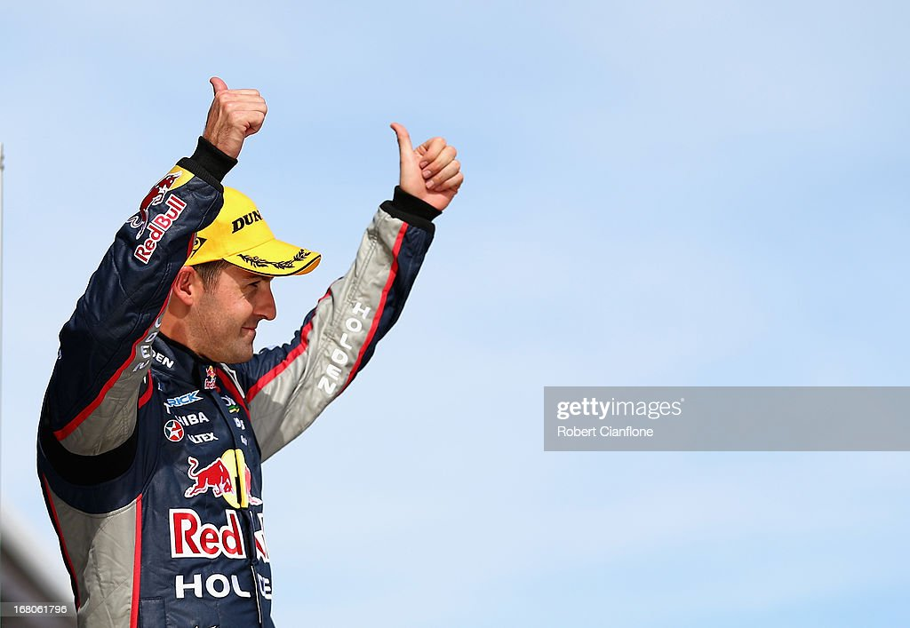 Jamie Whincup driver of the Red Bull Racing Australia Holden celebrates after winning race 11 for the Perth 360 which is round four of the V8...