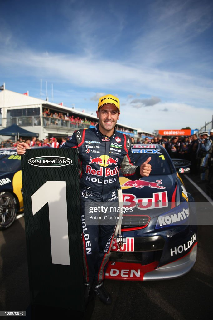 <a gi-track='captionPersonalityLinkClicked' href=/galleries/search?phrase=Jamie+Whincup&family=editorial&specificpeople=678654 ng-click='$event.stopPropagation()'>Jamie Whincup</a> driver of the #1 Red Bull Racing Australia Holden celebrates after winning race 12 for the Perth 360, which is round four of the V8 Supercar Championship Series at Barbagallo Raceway on May 5, 2013 in Perth, Australia.