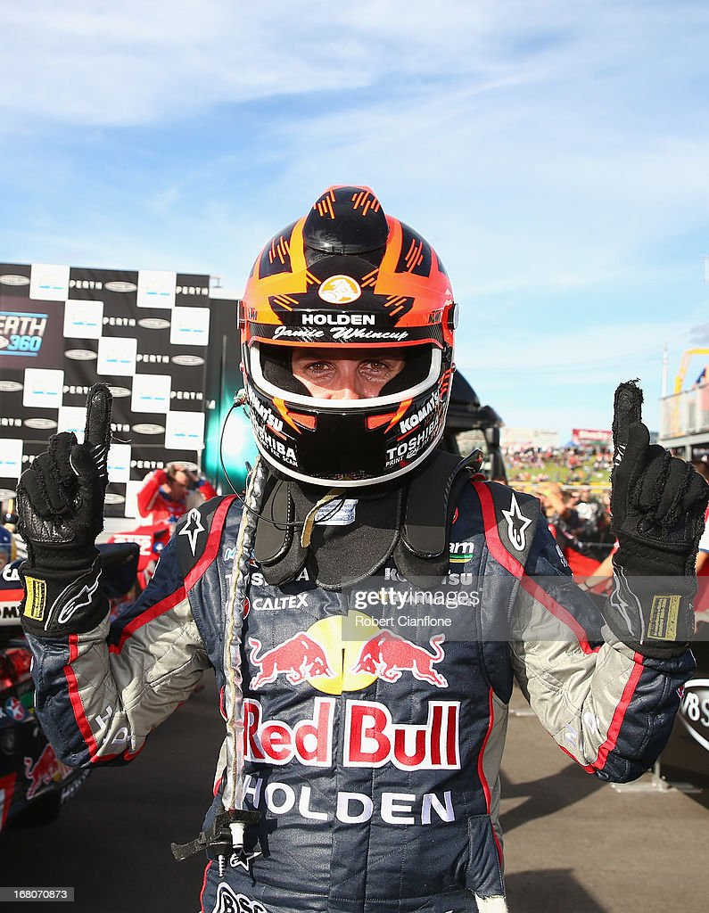 Jamie Whincup driver of the Red Bull Racing Australia Holden celebrates after winning race 12 for the Perth 360 which is round four of the V8...