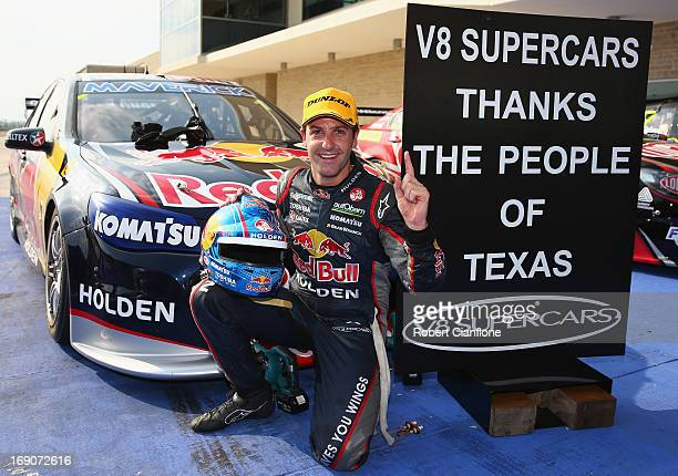 Jamie Whincup driver of the Red Bull Racing Australia Holden celebrates after winning race 16 the Austin 400 which is round five of the V8 Supercar...