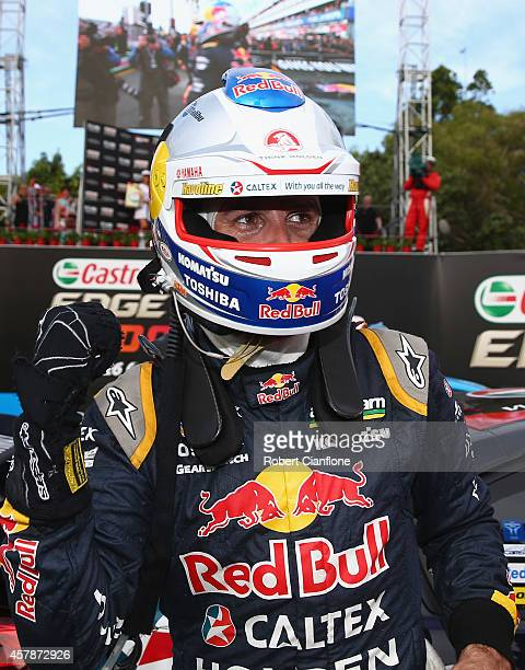 Jamie Whincup driver of the Red Bull Racing Australia Holden celebrates after winning race 32 for the Gold Coast 600 which is round 12 of the V8...