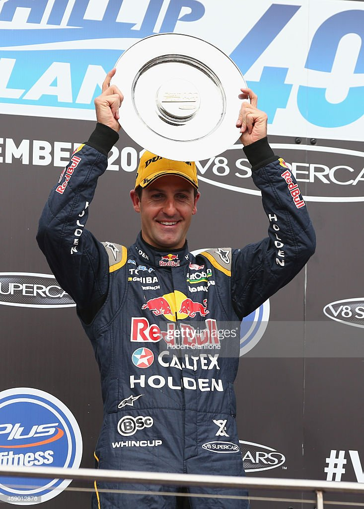 <a gi-track='captionPersonalityLinkClicked' href=/galleries/search?phrase=Jamie+Whincup&family=editorial&specificpeople=678654 ng-click='$event.stopPropagation()'>Jamie Whincup</a> driver of the #1 Red Bull Racing Australia Holden celebrates after he won race 34 at the Phillip Island 400, which is part of the V8 Supercar Championship Series at Phillip Island Grand Prix Circuit on November 15, 2014 in Phillip Island, Australia.