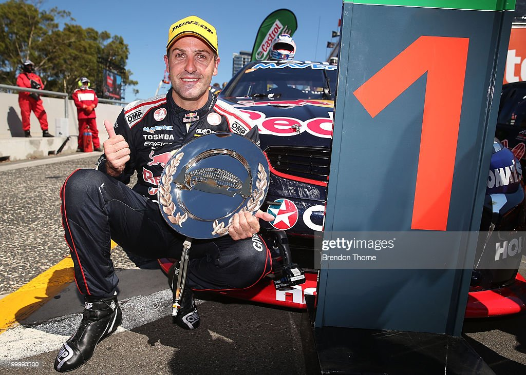 <a gi-track='captionPersonalityLinkClicked' href=/galleries/search?phrase=Jamie+Whincup&family=editorial&specificpeople=678654 ng-click='$event.stopPropagation()'>Jamie Whincup</a> driver of the #1 Red Bull Racing Australia Holden celebrates after winning race 34 for the Sydney 500, which is part of the V8 Supercar Championship Series at Sydney Olympic Park Street Circuit on December 5, 2015 in Sydney, Australia.