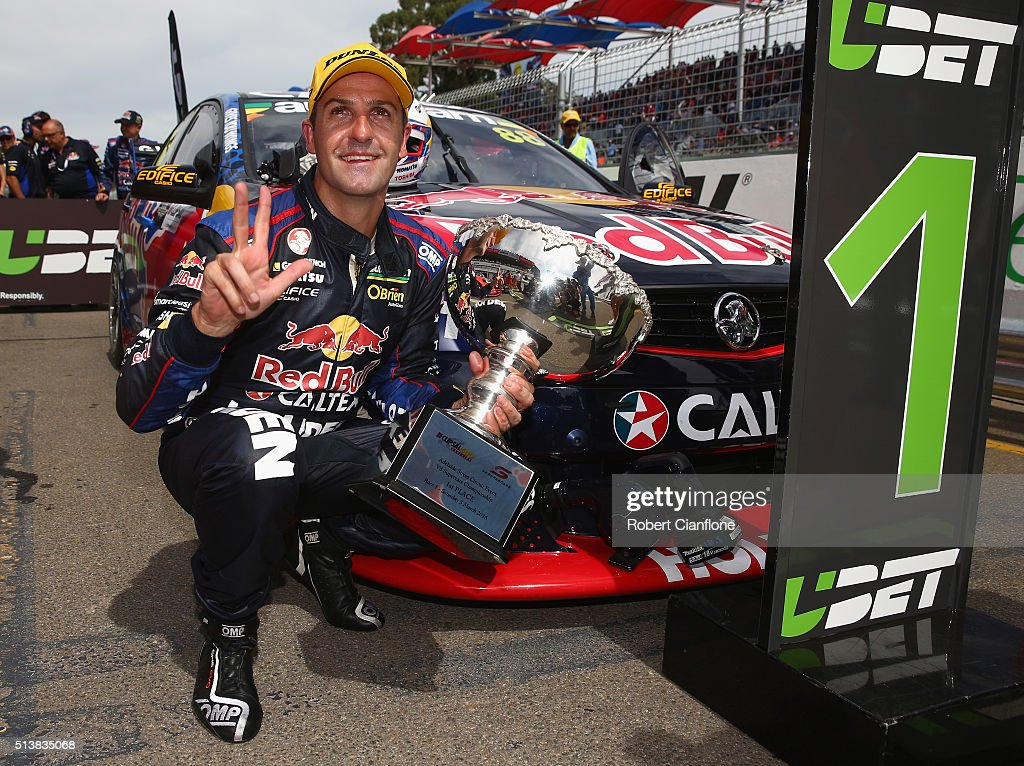 <a gi-track='captionPersonalityLinkClicked' href=/galleries/search?phrase=Jamie+Whincup&family=editorial&specificpeople=678654 ng-click='$event.stopPropagation()'>Jamie Whincup</a> driver of the #88 Red Bull Racing Australia Holden celebrates after winning race one for the V8 Supercars Clipsal 500 at Adelaide Street Circuit on March 5, 2016 in Adelaide, Australia.