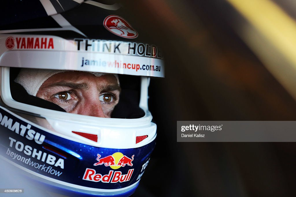 <a gi-track='captionPersonalityLinkClicked' href=/galleries/search?phrase=Jamie+Whincup&family=editorial&specificpeople=678654 ng-click='$event.stopPropagation()'>Jamie Whincup</a> driver of the #1 Red Bull Racing Australia Holden during practice for the Triple Crown Darwin, which is round six of the V8 Supercar Championship Series at Hidden Valley Raceway on June 20, 2014 in Darwin, Australia.
