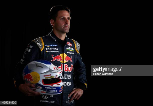 Jamie Whincup driver of the Red Bull Racing Australia Holden poses during a V8 Supercars portrait session at Sandown International Raceway on...