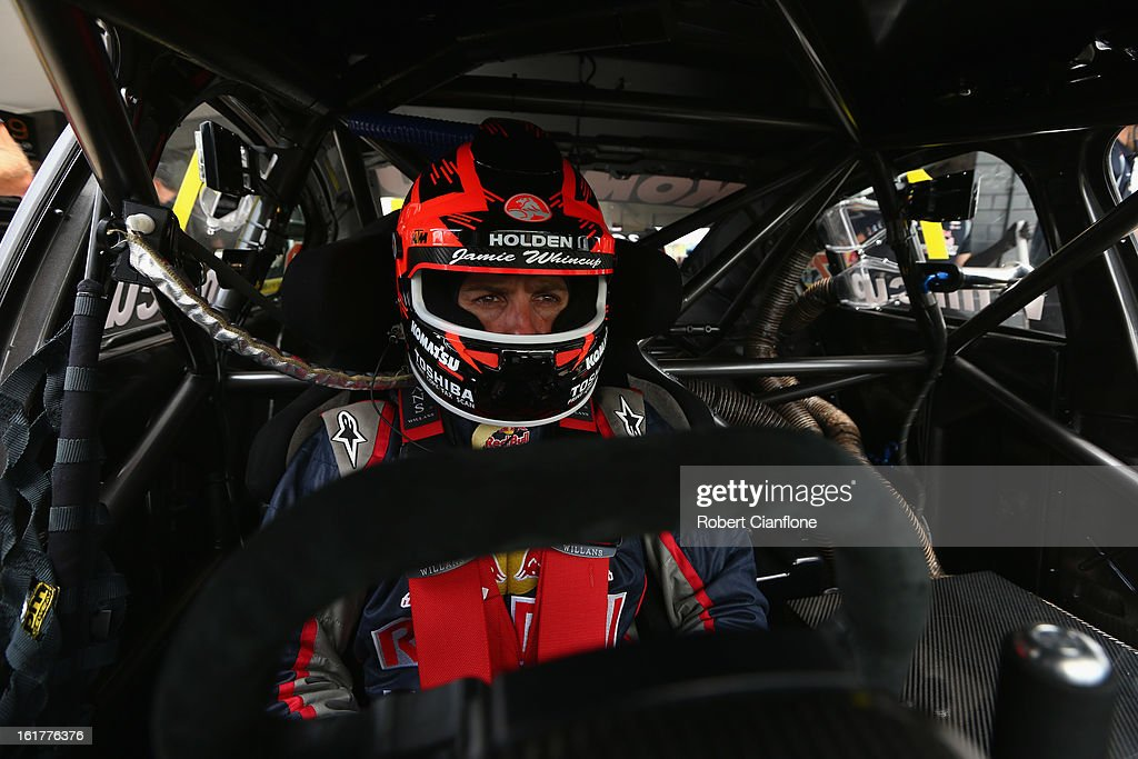 Jamie Whincup driver of the #1 Red Bull Racing Australia Holden sits in his car during the 2013 Official V8 Supercars test day at Sydney Motorsport Park on February 16, 2013 in Sydney, Australia.