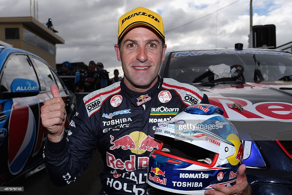 <a gi-track='captionPersonalityLinkClicked' href=/galleries/search?phrase=Jamie+Whincup&family=editorial&specificpeople=678654 ng-click='$event.stopPropagation()'>Jamie Whincup</a> driver of the #1 Red Bull Racing Australia Holden VF Commodore reacts after winning race 3 for the V8 Supercars Tasmania SuperSprint at Symmons Plains Raceway on March 29, 2015 in Launceston, Australia.