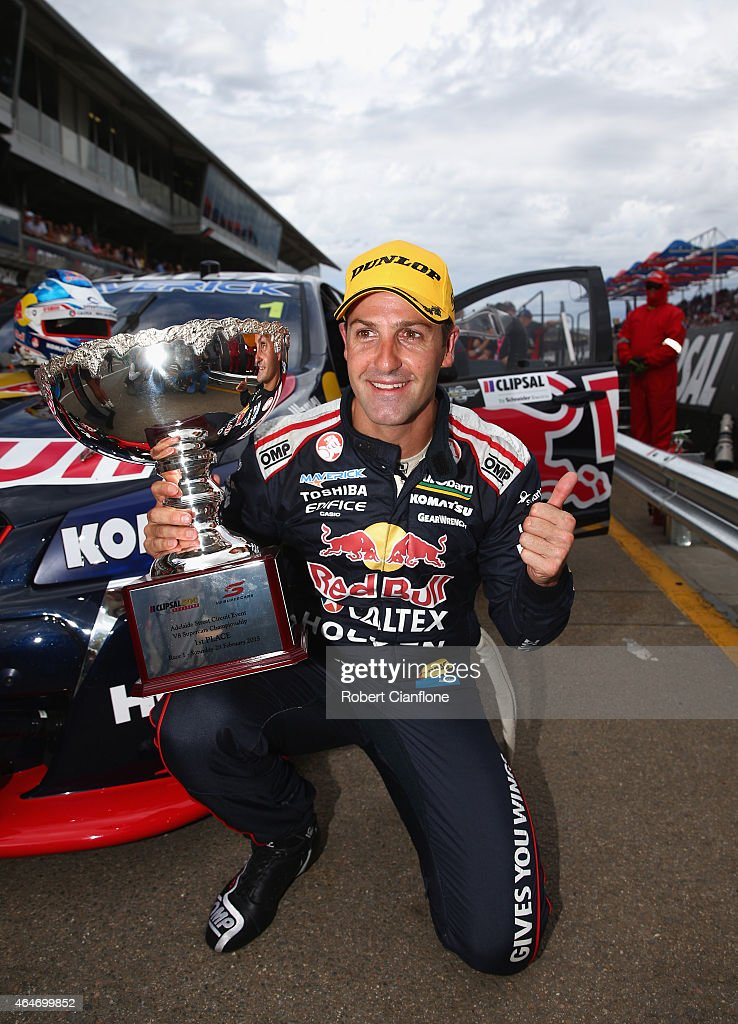 <a gi-track='captionPersonalityLinkClicked' href=/galleries/search?phrase=Jamie+Whincup&family=editorial&specificpeople=678654 ng-click='$event.stopPropagation()'>Jamie Whincup</a> driver the #1 Red Bull Racing Australia Holden celebrates after winning race one for the V8 Supercars Clipsal 500 at the Adelaide Street Circuit on February 28, 2015 in Adelaide, Australia.