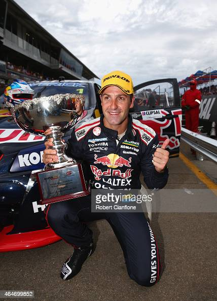 Jamie Whincup driver the Red Bull Racing Australia Holden celebrates after winning race one for the V8 Supercars Clipsal 500 at the Adelaide Street...