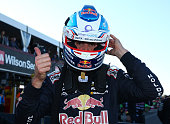 Jamie Whincup driver the Red Bull Racing Australia Holden celebrates after taking pole position for the Sandown 500 which is part of the V8 Supercars...