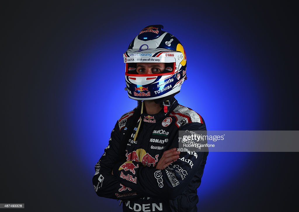 Jamie Whincup driver the Red Bull Racing Australia Holden poses during the 2015 V8 Supercars Enduro pairing portrait session at Sandown International...