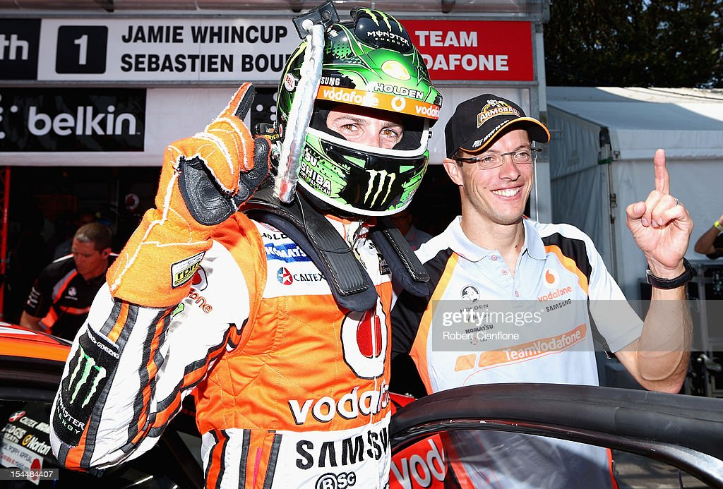 <a gi-track='captionPersonalityLinkClicked' href=/galleries/search?phrase=Jamie+Whincup&family=editorial&specificpeople=678654 ng-click='$event.stopPropagation()'>Jamie Whincup</a> driver the #1 Team Vodafone Holden celebrates with co-driver Sebastian Bourdais of France after taking pole position for race 23 for the Gold Coast 600, which is round 12 of the V8 Supercars Championship Series at the Gold Coast Street Circuit on October 21, 2012 on the Gold Coast, Australia.