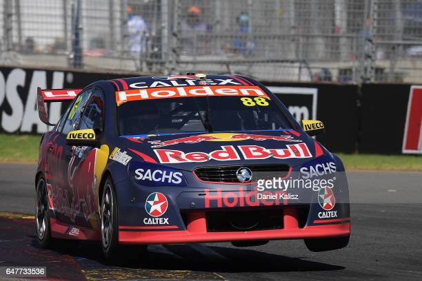 Jamie Whincup drives the Red Bull Holden Racing Team Holden Commodore VF during race 1 for the Clipsal 500 which is part of the Supercars...