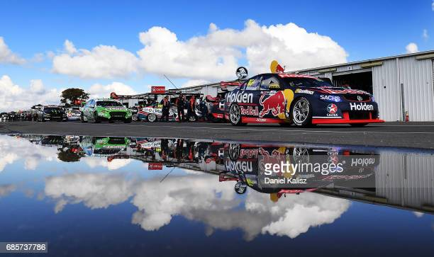 Jamie Whincup drives the Red Bull Holden Racing Team Holden Commodore VF during qualifying for race 9 for the Winton SuperSprint which is part of the...