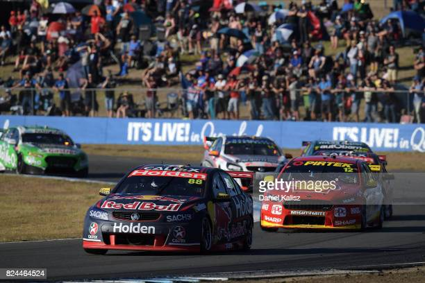 Jamie Whincup drives the Red Bull Holden Racing Team Holden Commodore VF during race 16 for the Ipswich SuperSprint which is part of the Supercars...