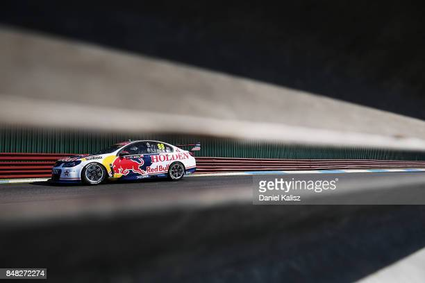 Jamie Whincup drives the Red Bull Holden Racing Team Holden Commodore VF during the Sandown 500 which is part of the Supercars Championship at...