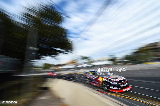 Jamie Whincup drives the Red Bull Racing Australia Holden Commodore VF during race 1 for the V8 Supercars Clipsal 500 at Adelaide Street Circuit on...