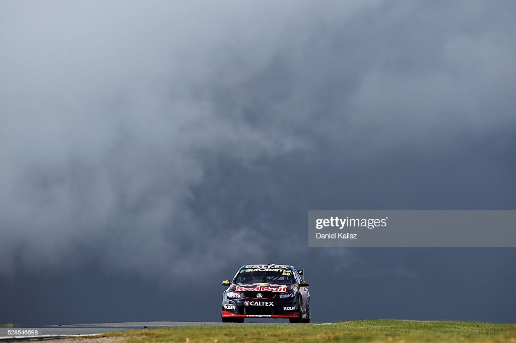 Jamie Whincup drives the Red Bull Racing Australia Holden Commodore VF during practice for the V8 Supercars Perth SuperSprint at Barbagallo Raceway...