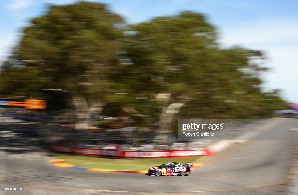 <a gi-track='captionPersonalityLinkClicked' href=/galleries/search?phrase=Jamie+Whincup&family=editorial&specificpeople=678654 ng-click='$event.stopPropagation()'>Jamie Whincup</a> drives the #1 Red Bull Racing Australia Holden during practice for the Clipsal 500, which is round one of the V8 Supercar Championship Series, at the Adelaide Street Circuit on March 1, 2013 in Adelaide, Australia.